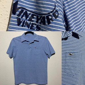VINEYARDVINES Womens Medium Blue Striped Blouse